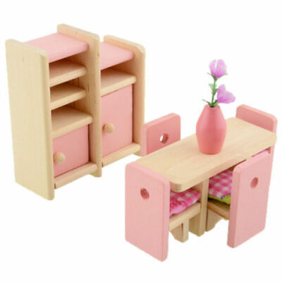 Kid's Children Wooden Furniture Dolls Family House Miniature 6 Room Set Doll Toy 10