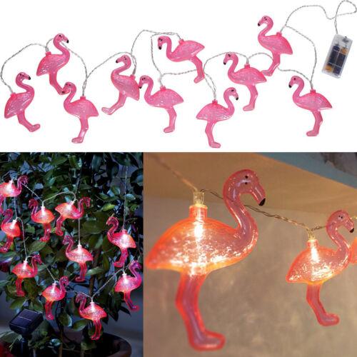 Flamingo pink Sommer Party Garten LED Batterie Lichterkette 10 tlg