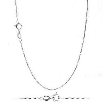 925 Solid Sterling Silver .8mm Thin Box Chain Necklace for Pendants ALL SIZES