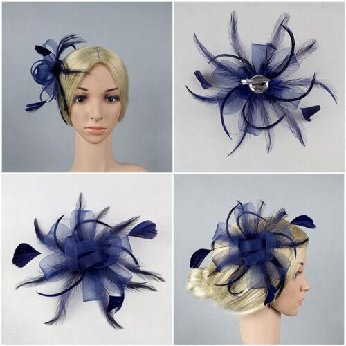 Flower Feather Fascinator Loop Beak Hair Clip Brooch Pin Ladies 2
