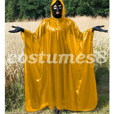 100% Latex Rubber Full-Body Long Coat Hooded Rain Catsuit Fashion Size S-XXL 6