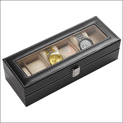 6 Grids Leather Watch Display Case Jewelry Collection Storage Holder Box Gift OZ 6
