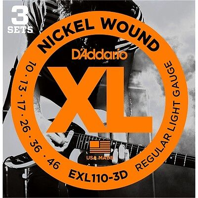D'Addario EXL110-3D Electric Guitar Strings 10-46 (3 Set Pack) Tone & Long Life. 2