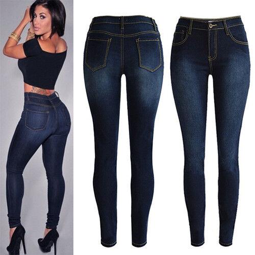 Damen High Waist Jeanshose Stretch Skinny Jeans Treggings Jeggings Denim Hosen 3
