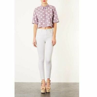 Topshop ladies girls pretty blouse top lilac white polka dot NEW 2