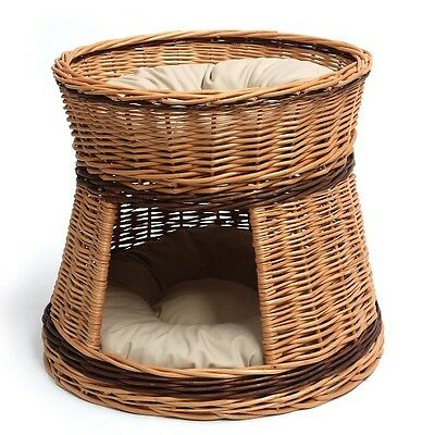 Cat Bed Wicker Oval 2 Tier Basket House Hand Crafted Two Cushions Provided 3