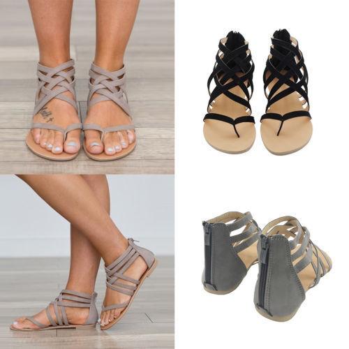 8173d128c6525 DAMEN STRAND FLACHE Wildleder Gladiator Sandalen Sommer Schuhe Sandaletten  Mode