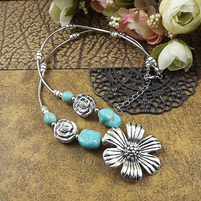 20 style Vintage Women's Tibetan Silver Turquoise Beads String Pendant Necklace 3