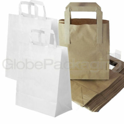 Brown & White Kraft Paper Sos Food Carrier Bags With Handles Party Takeaway Etc 2
