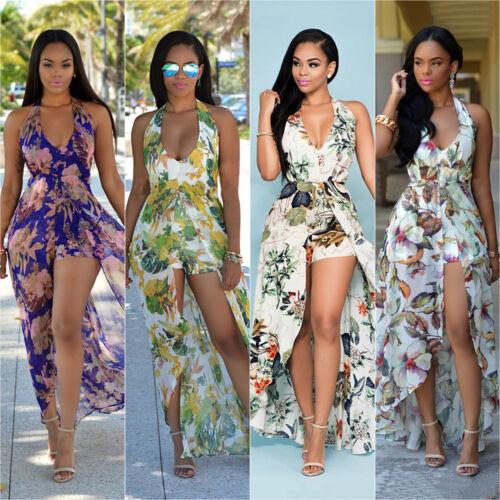 b15d5fd008d Femme Boho Floral Robe Maxi Longue Soirée Plage Cocktail Dos Séparé de  Soleil 9 9 sur 12 ...