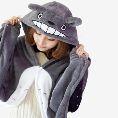 Soft Totoro Plush Cape Cloak Shawl Anime Cosplay Blanket Costume Coat Hood