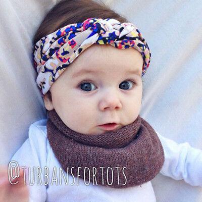Baby Girls Turban Knot Twist Headband Hair band Head Wrap Cute Kids Floral Plain 5