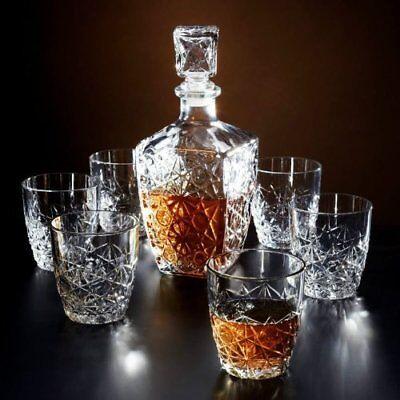 7 Pc Bormioli Rocco Whisky Decanter & Whiskey Tumblers Wine Glasses Gift Box Set 4