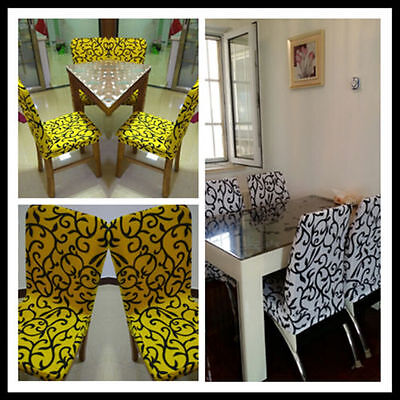 2/4/6 pcs Removable Stretch Slipcovers Short Dining Room Stool Seat Chair Cover 2