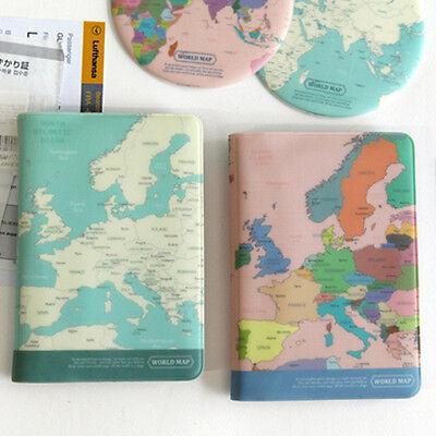 World Map Passport Holder.1x World Map Passport Holder Cover Travel Wallet Card Case Vintage