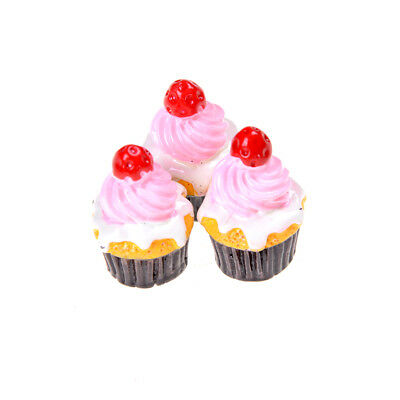 3Pcs Strawberry Cakes Miniature Food Models Dollhouse Accessories For Dolls _WK 5