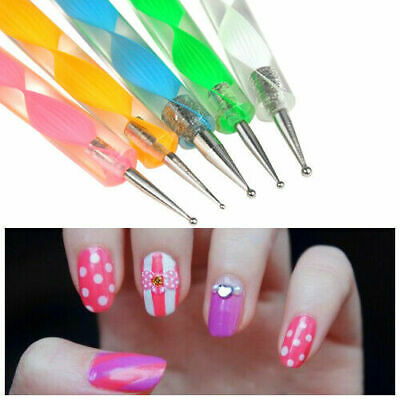 5 x 2 way Dotting Marbleizing Paint Drawing Nail Art Pens Manicure Tools New 3
