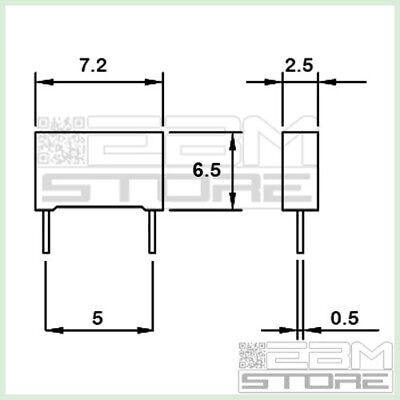 FV02 50 pz condensatore poliestere 1n5 100V P=5mm ART