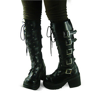 schwarz steam-punk gothic emo damen-schuhe Shoes goth keilabsatz Platform cool