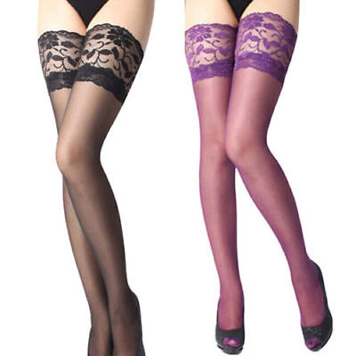 US SHIP Fashion Ladies Tights Stay Up Thigh High Stockings Lace Top Pantyhose 7