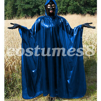 100% Latex Rubber Full-Body Long Coat Hooded Rain Catsuit Fashion Size S-XXL 2