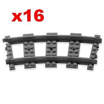 8 light grey curved 12v track Lego 8 rails 12v gris clair set 7725 7745 7735