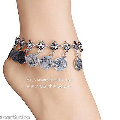 ANKLET -  SILVER WITH METAL COINS Wicca Witch Pagan Belly Dance Goth Hippie 3