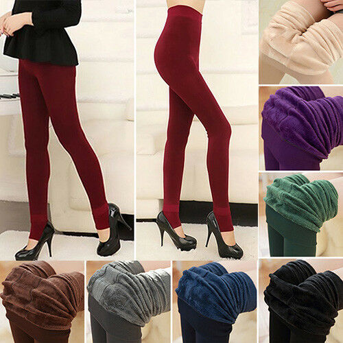 Women Winter Thermal Thick Fleece Skinny Slim Fit Leggings Stretch Pants Trouser 3