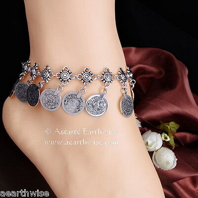 ANKLET -  SILVER WITH METAL COINS Wicca Witch Pagan Belly Dance Goth Hippie 5