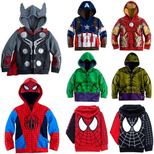 AU Boys Girls Kids Superhero Captain America Iron Man Hulk Costume Hoodie Jacket 2