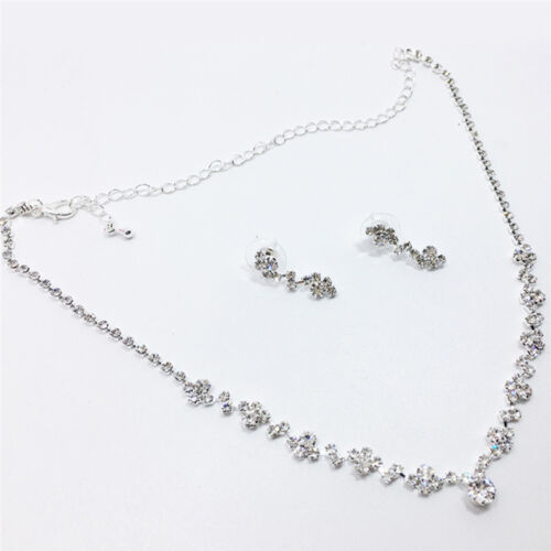 Bridesmaid Crystal Necklace Earrings Set Wedding Bridal Jewelry Jewellery FO 7