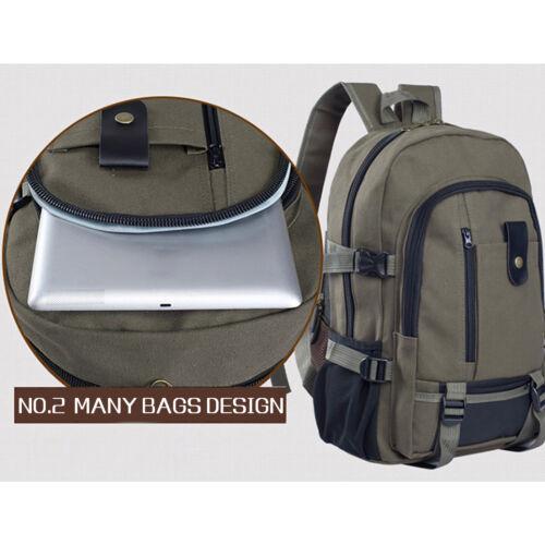 Men Vintage Canvas Backpack Rucksack Travel Hiking Schoolbag Laptop Camping Bag 5