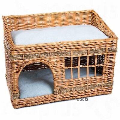 Cat Den bed Elaborately Woven Wicker Kitten Bed 2 floors window napping cushion 3