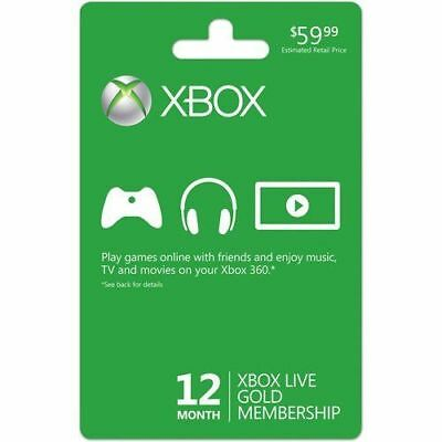 Microsoft Xbox LIVE 12 Month Gold Membership Card for Xbox 360 / XBOX ONE S 2