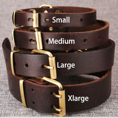 New Top Quality Handmade Pet Dog Collar Genuine Real Cow Leather Dog Collar M L 2
