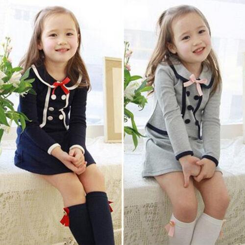 Kids Girls Long Sleeve Princess Dress Tops Tunika Skirt Spring Clothes Age 2-9Y 9