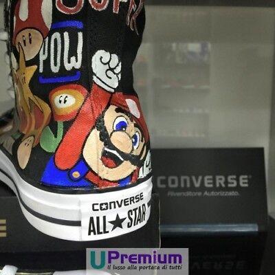 4ff513e17164 ... Converse All Star Super Mario Bros Scarpe Disegnate Handmade Paint Uomo  Donna Cl 4