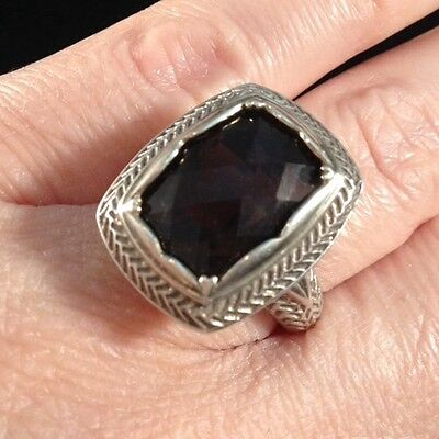 Vintage Large Sterling Silver 8C Smoky Quartz Filigree Estate Byzantine Ring 6.5
