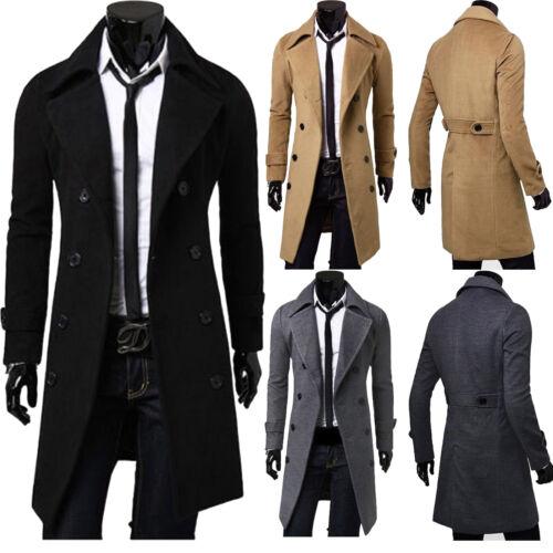 Mens Stylish Trench Coat Winter Warm Jacket Double Breasted Overcoat Windbreaker 2