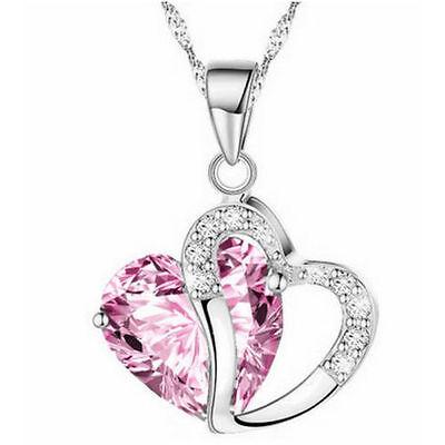 Fashion Women Heart Crystal Rhinestone Silver Chain Pendant Necklace Charm Gift