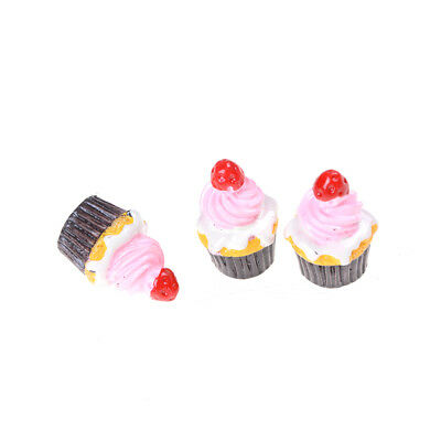 3Pcs Strawberry Cakes Miniature Food Models Dollhouse Accessories For Dolls _WK 6