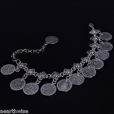 ANKLET -  SILVER WITH METAL COINS Wicca Witch Pagan Belly Dance Goth Hippie 4