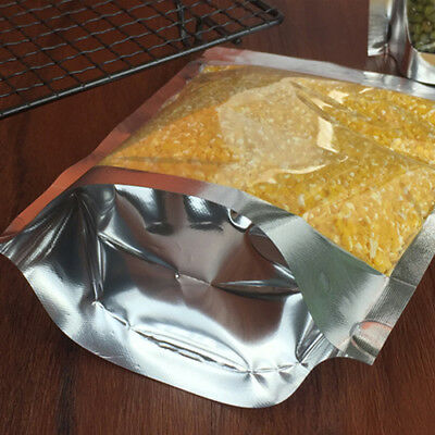 Aluminum Foil Mylar Food Packaging Ziplock Stand Up Pouches Bags Clear / Silver 8