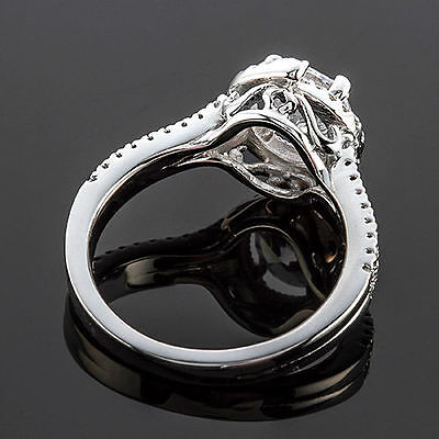 1 CT Diamond Engagement Ring Round Cut D/VS2 14K White Gold 3