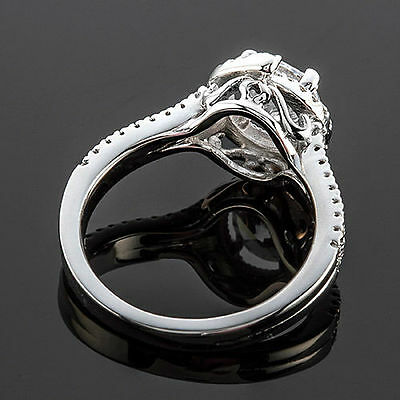 1.15 Ct Round Cut Natural Diamond Halo Engagement Ring 14K White Gold 3