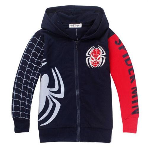 Kids Boys Clothes Spiderman Hoodie Hooded Jacket Sweatshirt Costume Coat Outwear