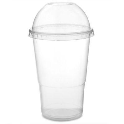 Smoothie Cups & Domed Lids Clear Plastic Party Cup Milkshake Juice Slush 2