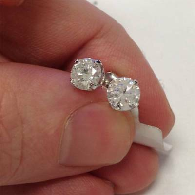 1.50Ct Round Cut Natural Diamond Stud Earrings in 14K White or Yellow Gold 2