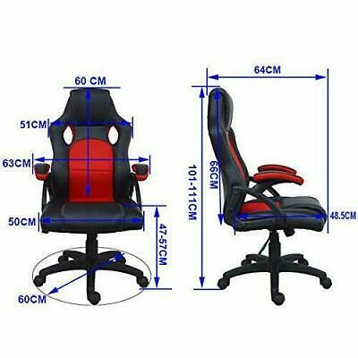 Executive Office Racing Gaming Chair Swivel Pu Leather Computer Desk Sport 3