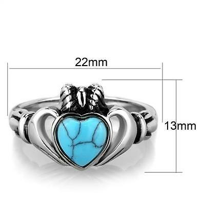 537e7043d0252 STAINLESS STEEL KING Claddagh Blue Turquoise Heart Irish Celtic Ireland Ring